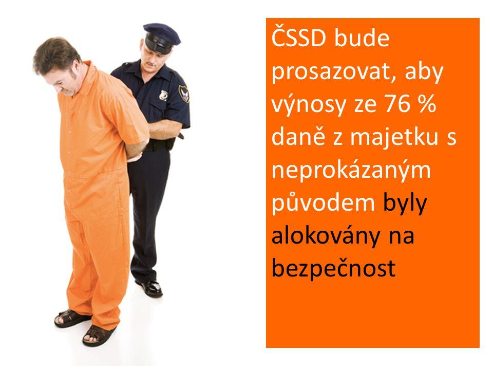 ČSSD bude prosazovat, aby výnosy ze 76 % daně z majetku s neprokázaným původem byly alokovány na bezpečnost
