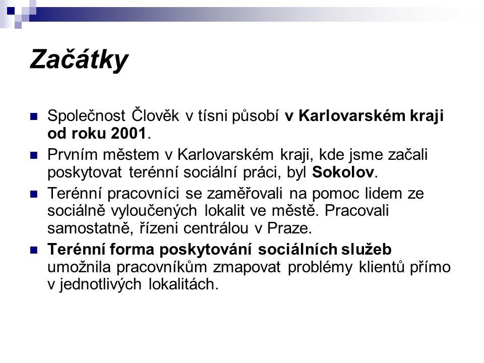 Začátky Společnost Člověk v tísni působí v Karlovarském kraji od roku 2001. Prvním městem v Karlovarském kraji, kde jsme začali poskytovat terénní soc