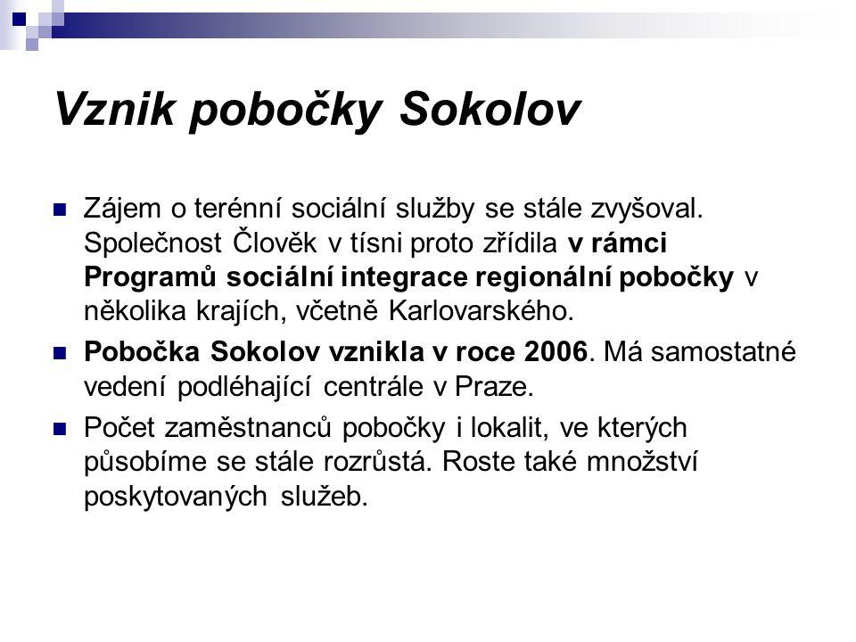 Vznik pobočky Sokolov Zájem o terénní sociální služby se stále zvyšoval. Společnost Člověk v tísni proto zřídila v rámci Programů sociální integrace r