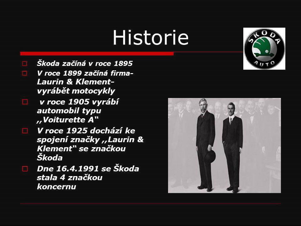 Historie  Škoda začíná v roce 1895  V roce 1899 začíná firma- Laurin & Klement- vyrábět motocykly  v roce 1905 vyrábí automobil typu,,Voiturette A  V roce 1925 dochází ke spojení značky,,Laurin & Klement se značkou Škoda  Dne 16.4.1991 se Škoda stala 4 značkou koncernu