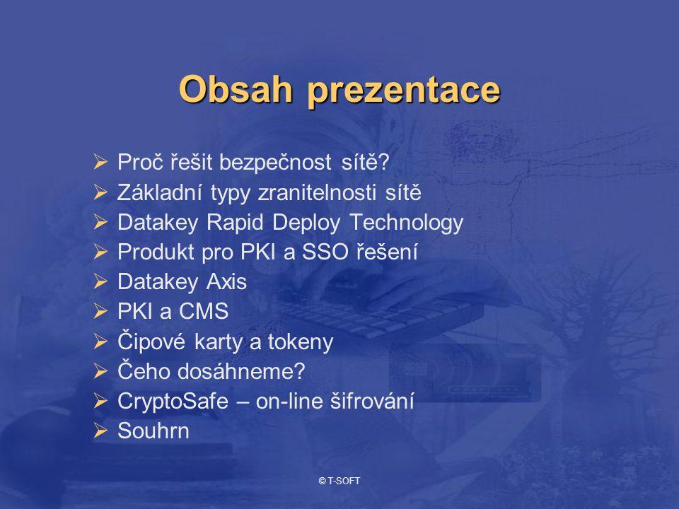 © T-SOFT Interní útočník Externí útočník Podnikové aktivity Chybná oprávněníVirus Proč řešit bezpečnost sítě?