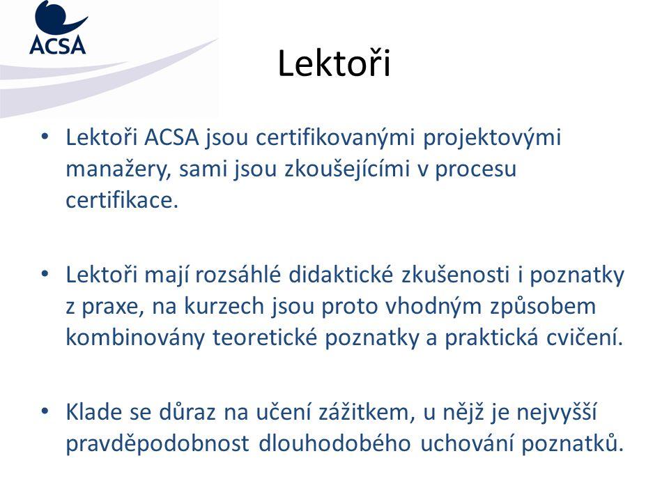 Lektoři Lektoři ACSA jsou certifikovanými projektovými manažery, sami jsou zkoušejícími v procesu certifikace. Lektoři mají rozsáhlé didaktické zkušen