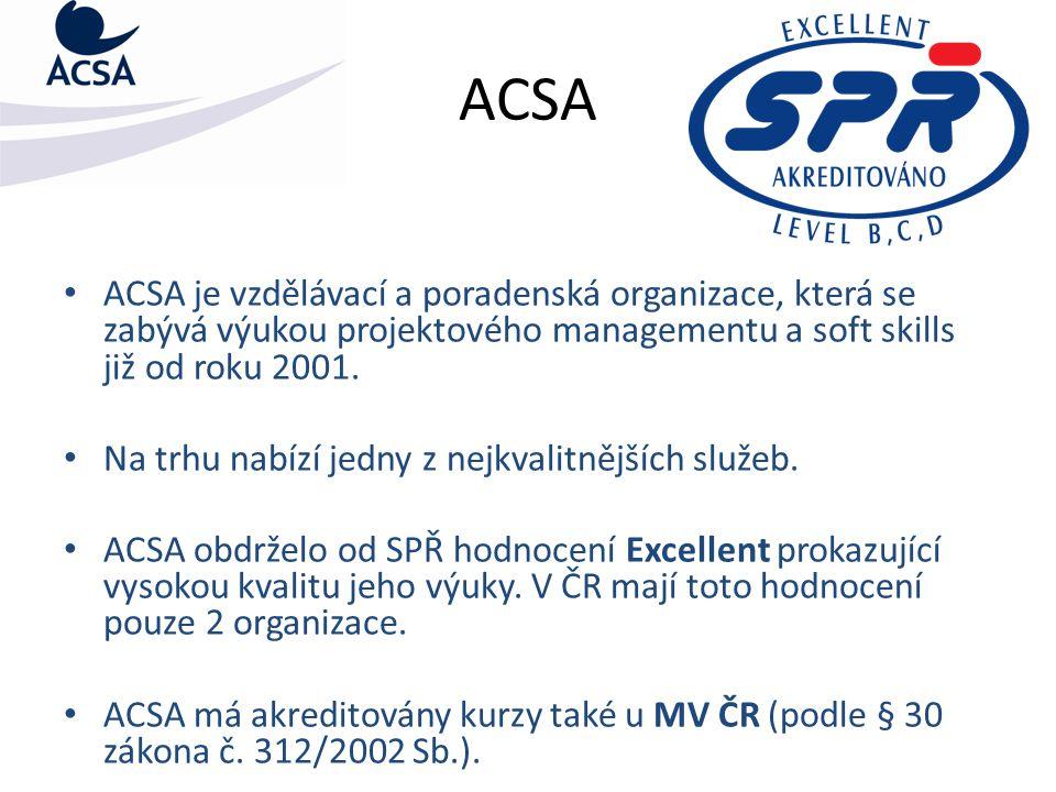 ACSA ACSA je vzdělávací a poradenská organizace, která se zabývá výukou projektového managementu a soft skills již od roku 2001. Na trhu nabízí jedny