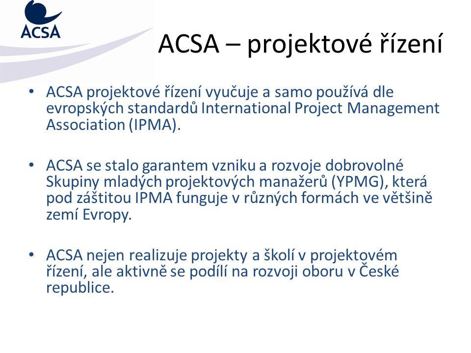 Činnost ACSA v oblasti vzdělávání Pořádání seminářů a soustředění z oblastí:  Projektového řízení  Plánování projektů v MS Project Professional  Finanční plánování a řízení ve veřejné správě  Procesní řízení ve veřejné správě  Strategické plánování ve veřejné správě  Soft skills (komunikační dovednosti, time managment a další)  Time management aneb efektivita jednotlivce = efektivita úřadu  Úspěšná komunikace ve veřejné správě  Vedení porad pro úředníky  Ochrana autorských práv  Bezpečnost užívání informačních technologií  Legislativa a postavení studentů na VŠ  a mnoho dalších