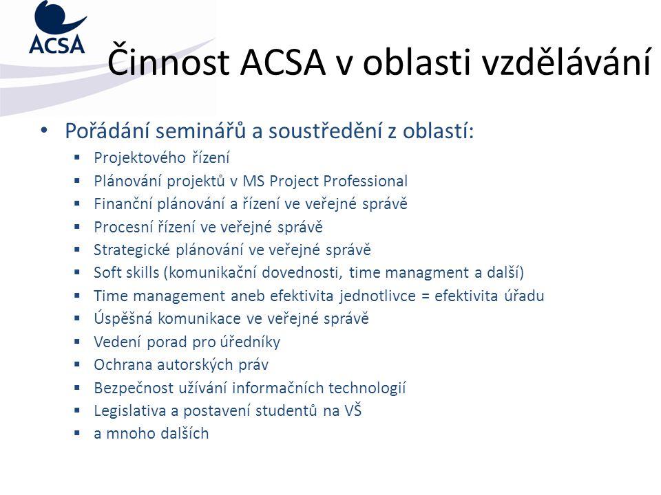 Činnost ACSA v oblasti vzdělávání Pořádání seminářů a soustředění z oblastí:  Projektového řízení  Plánování projektů v MS Project Professional  Fi