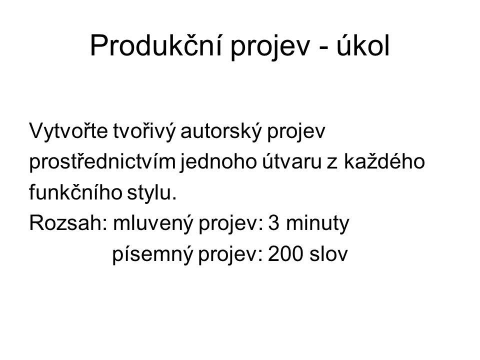 Produkční projev - úkol Vytvořte tvořivý autorský projev prostřednictvím jednoho útvaru z každého funkčního stylu. Rozsah: mluvený projev: 3 minuty pí