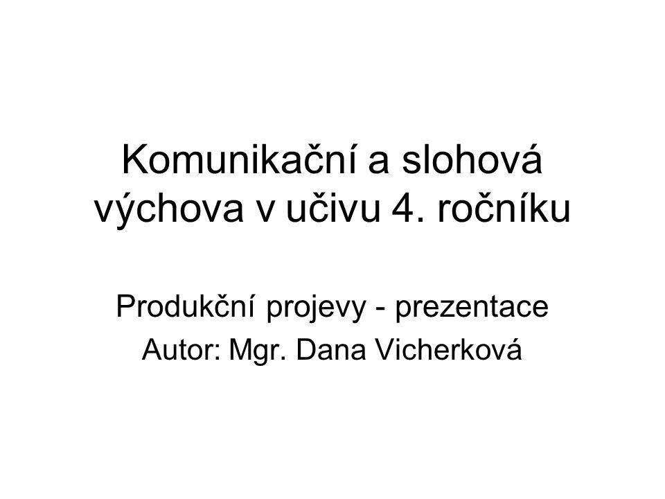Komunikační a slohová výchova v učivu 4. ročníku Produkční projevy - prezentace Autor: Mgr. Dana Vicherková