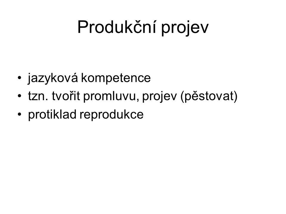 Produkční projev jazyková kompetence tzn. tvořit promluvu, projev (pěstovat) protiklad reprodukce