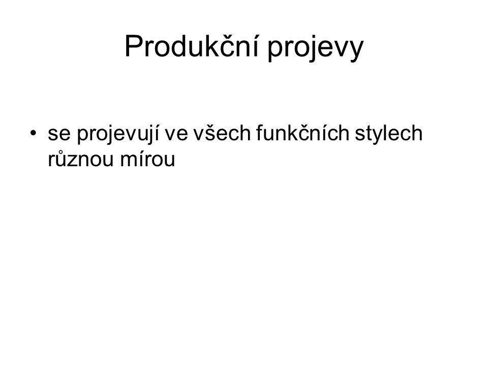 Produkční projevy se projevují ve všech funkčních stylech různou mírou