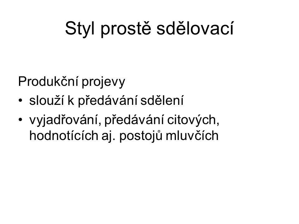 Produkční projev - úkol Vytvořte tvořivý autorský projev prostřednictvím jednoho útvaru z každého funkčního stylu.
