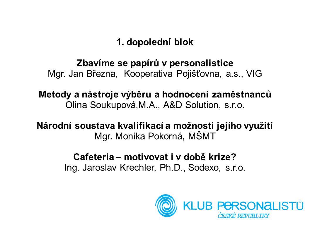 1. dopolední blok Zbavíme se papírů v personalistice Mgr. Jan Března, Kooperativa Pojišťovna, a.s., VIG Metody a nástroje výběru a hodnocení zaměstnan