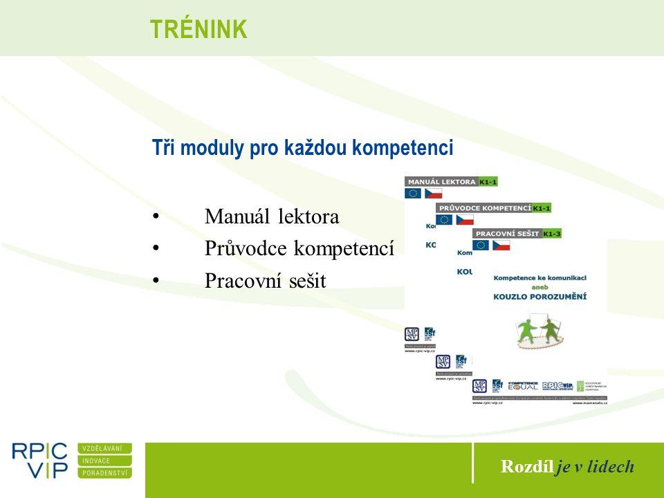 Rozdíl je v lidech TRÉNINK Tři moduly pro každou kompetenci Manuál lektora Průvodce kompetencí Pracovní sešit