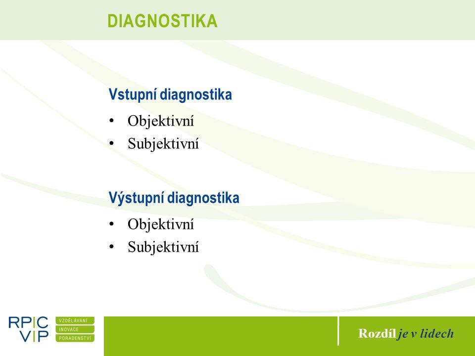 Rozdíl je v lidech DIAGNOSTIKA Vstupní diagnostika Objektivní Subjektivní Výstupní diagnostika Objektivní Subjektivní