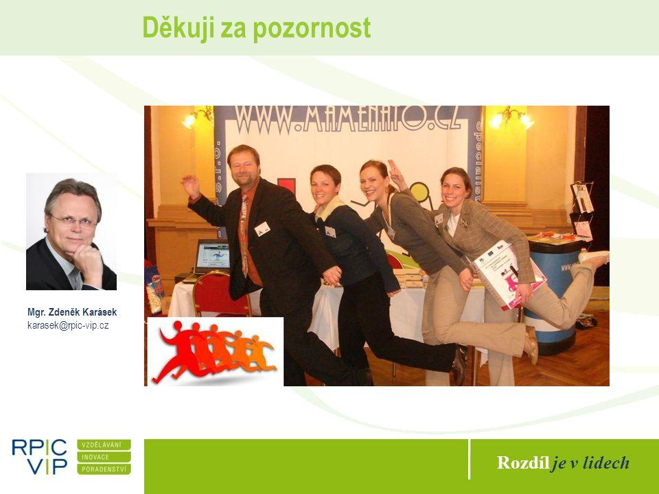 Rozdíl je v lidech Děkuji za pozornost Mgr. Zdeněk Karásek karasek@rpic-vip.cz