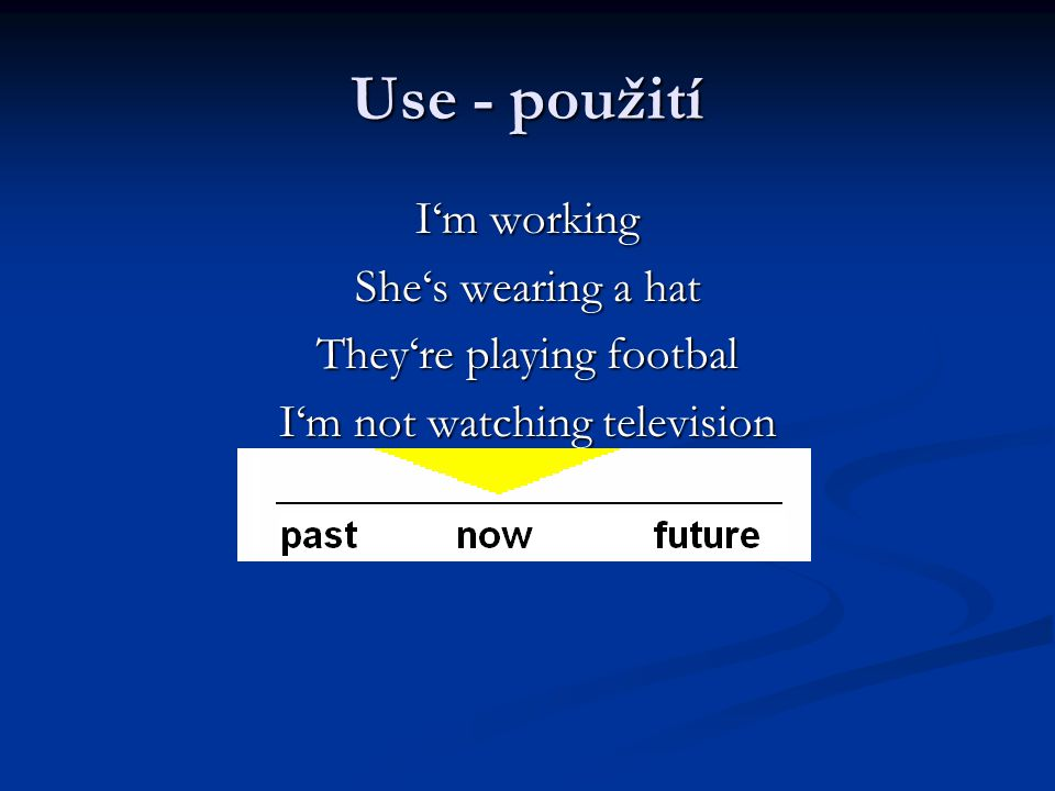 Use - použití I'm working She's wearing a hat They're playing footbal I'm not watching television