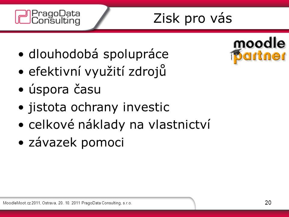 MoodleMoot.cz 2011, Ostrava, 20. 10. 2011 PragoData Consulting, s.r.o. 20 dlouhodobá spolupráce efektivní využití zdrojů úspora času jistota ochrany i
