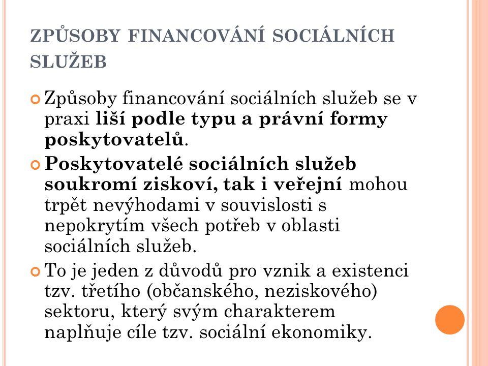 ZPŮSOBY FINANCOVÁNÍ SOCIÁLNÍCH SLUŽEB Způsoby financování sociálních služeb se v praxi liší podle typu a právní formy poskytovatelů. Poskytovatelé soc