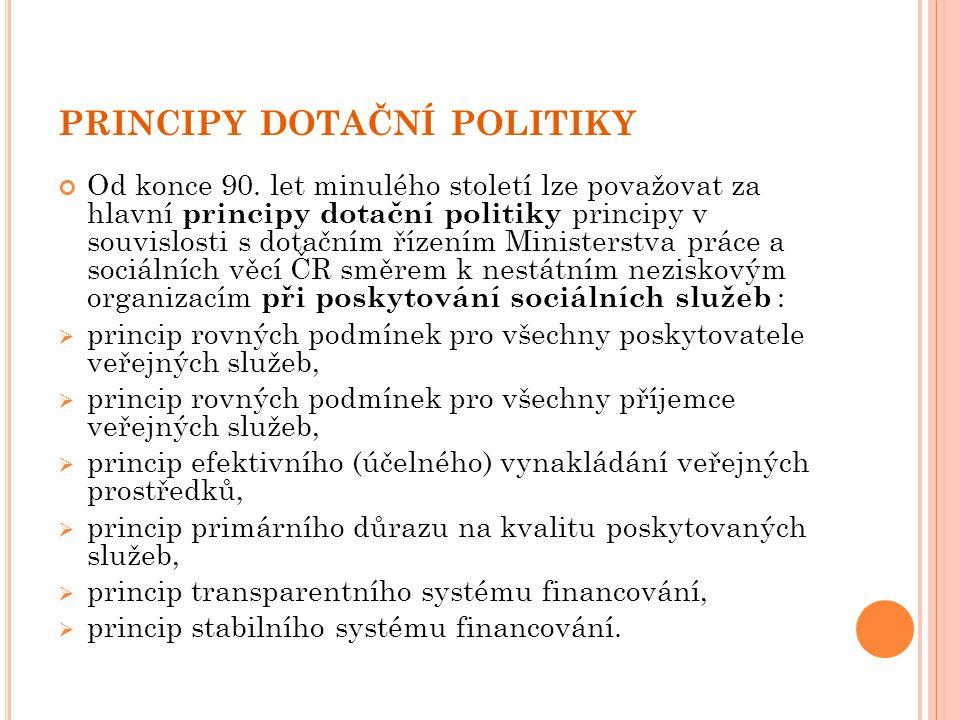 PRINCIPY DOTAČNÍ POLITIKY Od konce 90. let minulého století lze považovat za hlavní principy dotační politiky principy v souvislosti s dotačním řízení