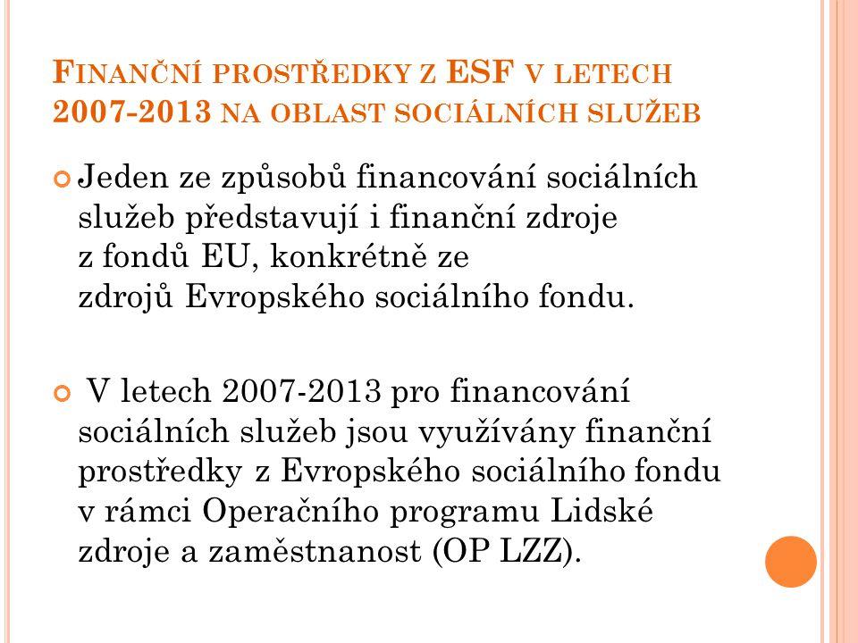 F INANČNÍ PROSTŘEDKY Z ESF V LETECH 2007-2013 NA OBLAST SOCIÁLNÍCH SLUŽEB Jeden ze způsobů financování sociálních služeb představují i finanční zdroje