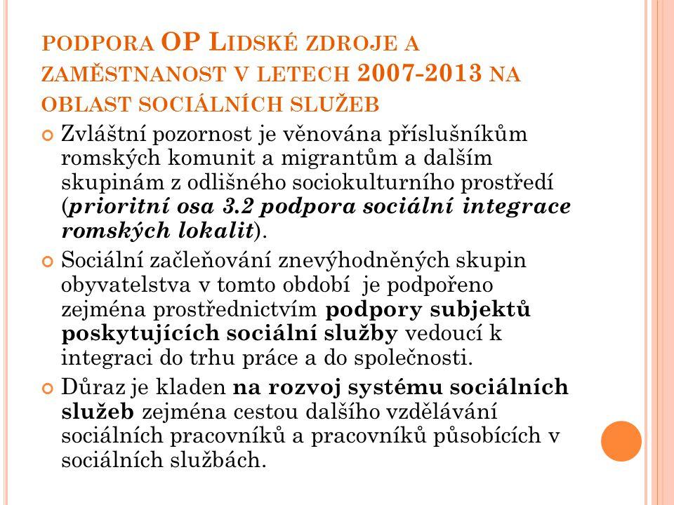 PODPORA OP L IDSKÉ ZDROJE A ZAMĚSTNANOST V LETECH 2007-2013 NA OBLAST SOCIÁLNÍCH SLUŽEB Zvláštní pozornost je věnována příslušníkům romských komunit a