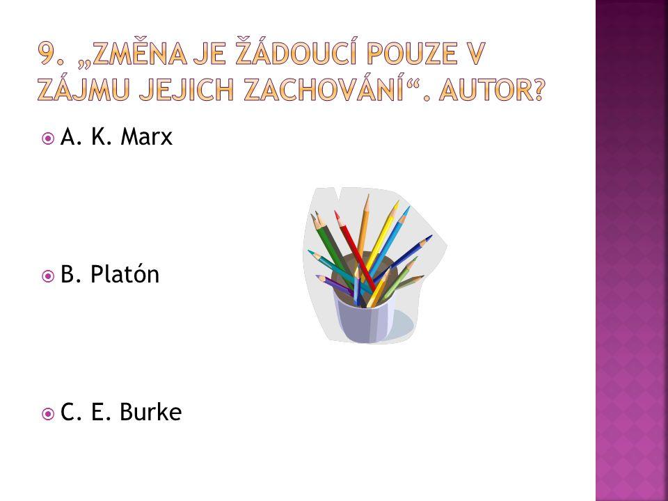  A. K. Marx  B. Platón  C. E. Burke