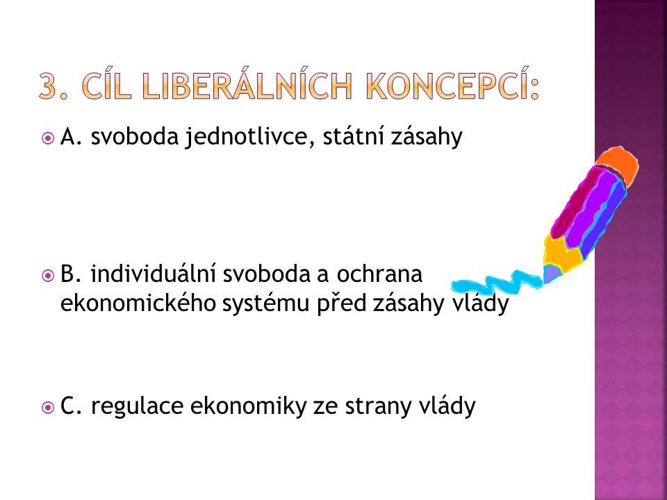  A. svoboda jednotlivce, státní zásahy  B.
