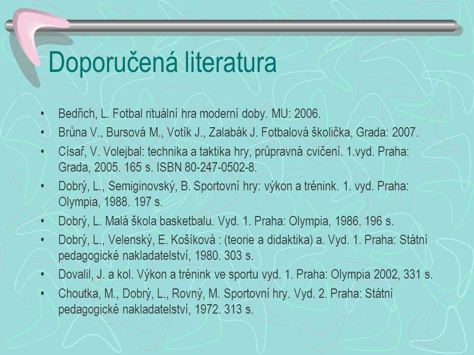 Doporučená literatura Bedřich, L.Fotbal rituální hra moderní doby.