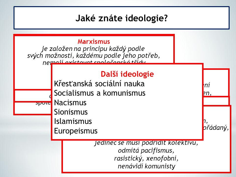 Jaké znáte ideologie? Liberalismus myšlenkový a politický směr, který věří v lidskost člověka, tzn. jeho schopnost ctít zákony, respektovat druhé a um