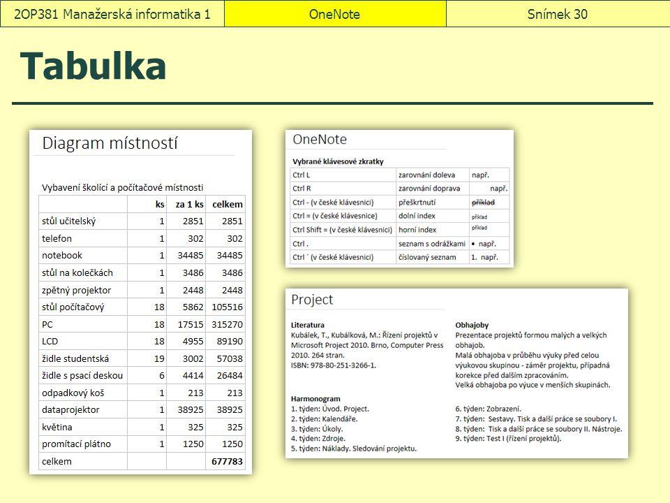 Tabulka OneNoteSnímek 302OP381 Manažerská informatika 1