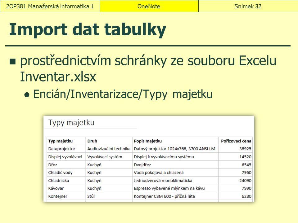 Import dat tabulky prostřednictvím schránky ze souboru Excelu Inventar.xlsx Encián/Inventarizace/Typy majetku OneNoteSnímek 322OP381 Manažerská inform