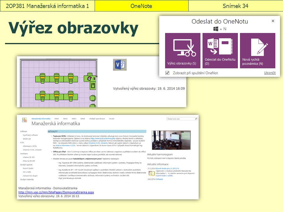 Výřez obrazovky OneNoteSnímek 342OP381 Manažerská informatika 1