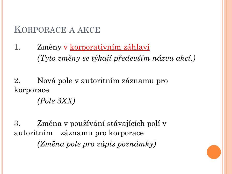 K ORPORACE A AKCE 1.Změny v korporativním záhlaví (Tyto změny se týkají především názvu akcí.) 2.