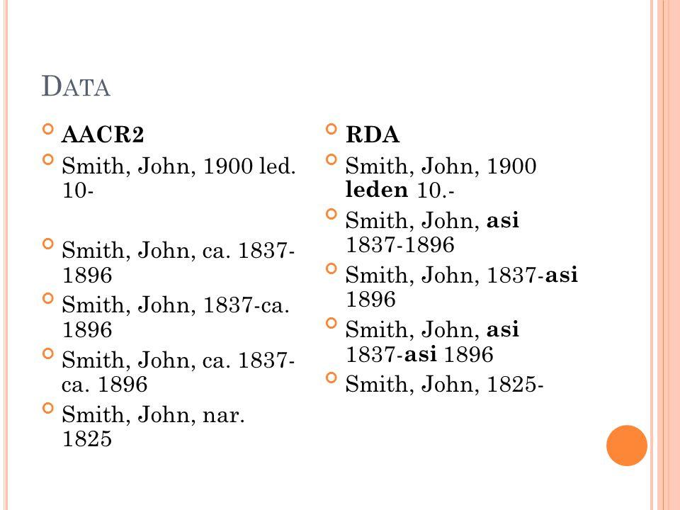 AACR2 Smith, John, zemř.1859 Johnson, Carl F., činný 1893-1940 Seneca, Lucius Annaeus, ca 4 př.