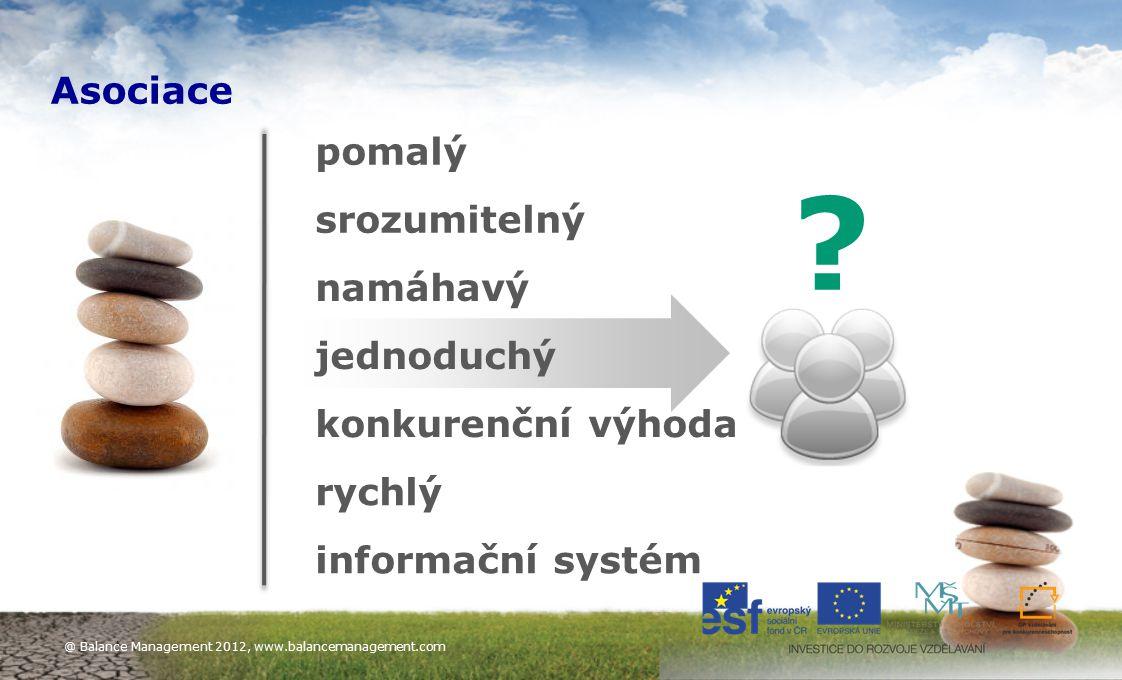 10 pomalý srozumitelný namáhavý jednoduchý rychlý konkurenční výhoda informační systém ? Asociace @ Balance Management 2012, www.balancemanagement.com