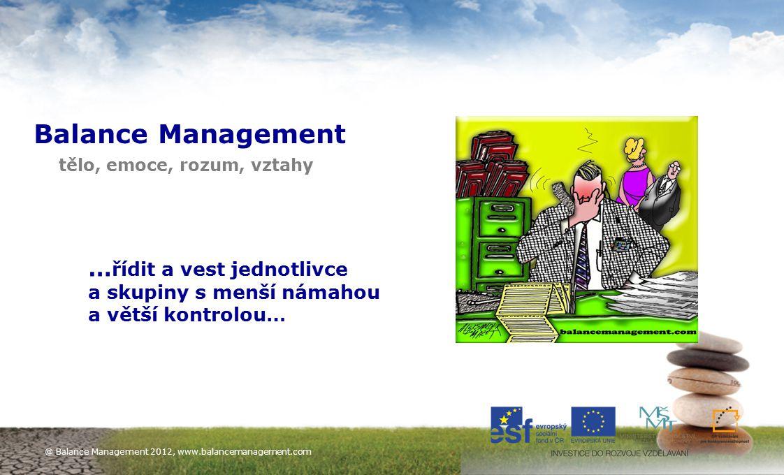 13 Balance Management tělo, emoce, rozum, vztahy … řídit a vest jednotlivce a skupiny s menší námahou a větší kontrolou… @ Balance Management 2012, ww