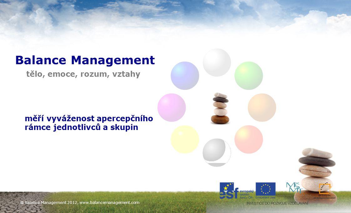 6 Balance Management tělo, emoce, rozum, vztahy měří vyváženost apercepčního rámce jednotlivců a skupin @ Balance Management 2012, www.balancemanageme