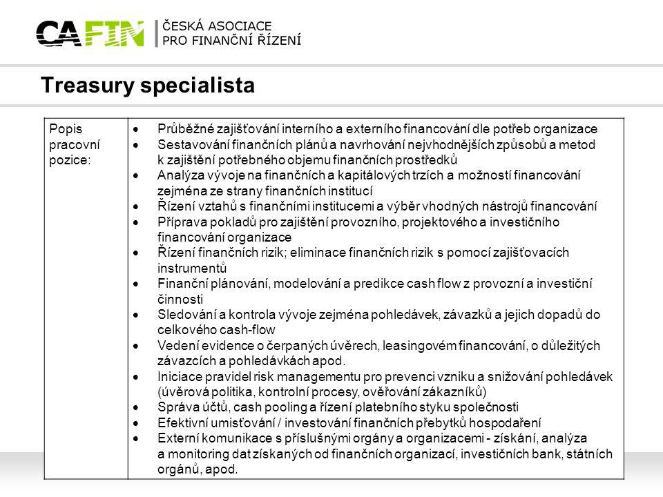 Treasury specialista Popis pracovní pozice:  Průběžné zajišťování interního a externího financování dle potřeb organizace  Sestavování finančních pl