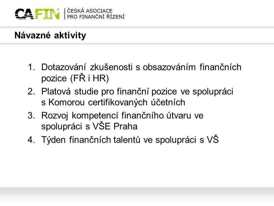 Návazné aktivity 1.Dotazování zkušenosti s obsazováním finančních pozice (FŘ i HR) 2.Platová studie pro finanční pozice ve spolupráci s Komorou certif