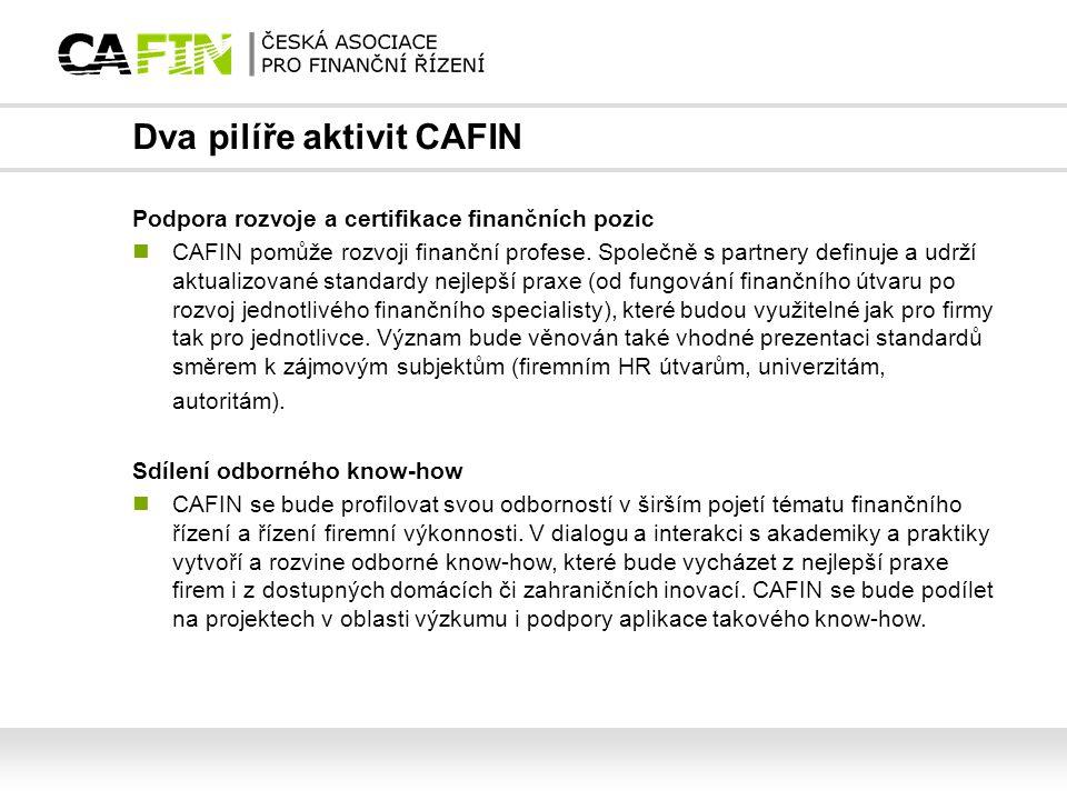 Dva pilíře aktivit CAFIN Podpora rozvoje a certifikace finančních pozic CAFIN pomůže rozvoji finanční profese. Společně s partnery definuje a udrží ak