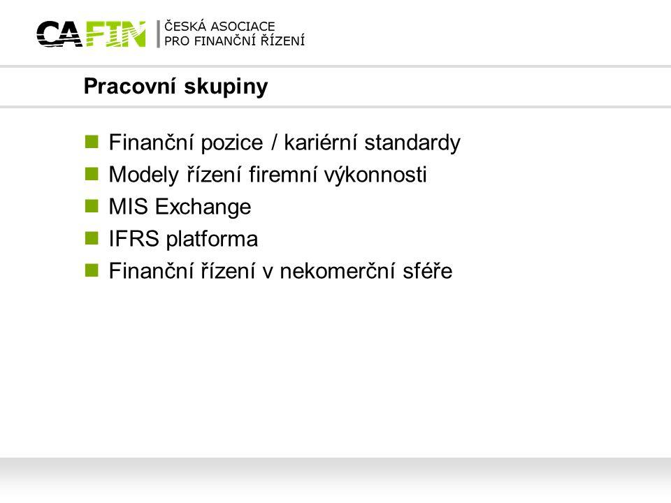 Pracovní skupiny Finanční pozice / kariérní standardy Modely řízení firemní výkonnosti MIS Exchange IFRS platforma Finanční řízení v nekomerční sféře