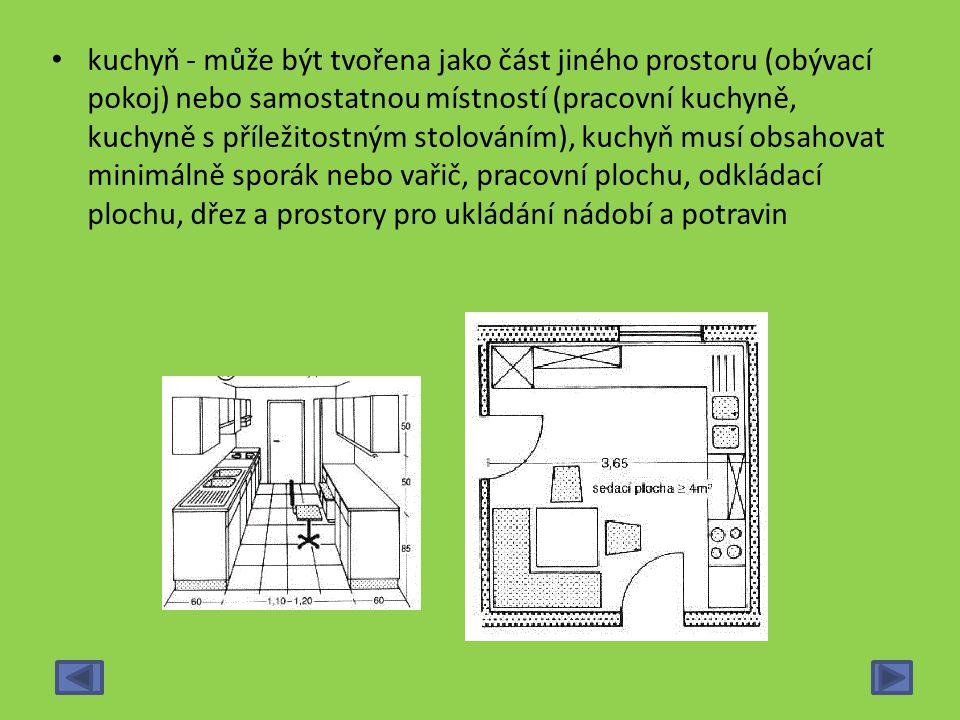 kuchyň - může být tvořena jako část jiného prostoru (obývací pokoj) nebo samostatnou místností (pracovní kuchyně, kuchyně s příležitostným stolováním)