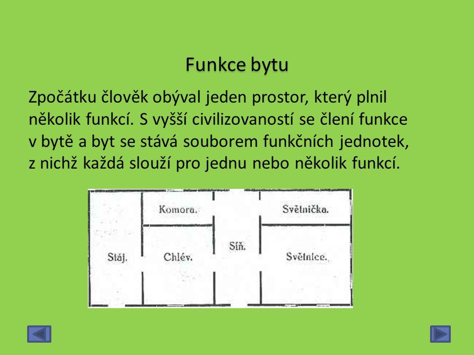 Funkce bytu Zpočátku člověk obýval jeden prostor, který plnil několik funkcí. S vyšší civilizovaností se člení funkce v bytě a byt se stává souborem f