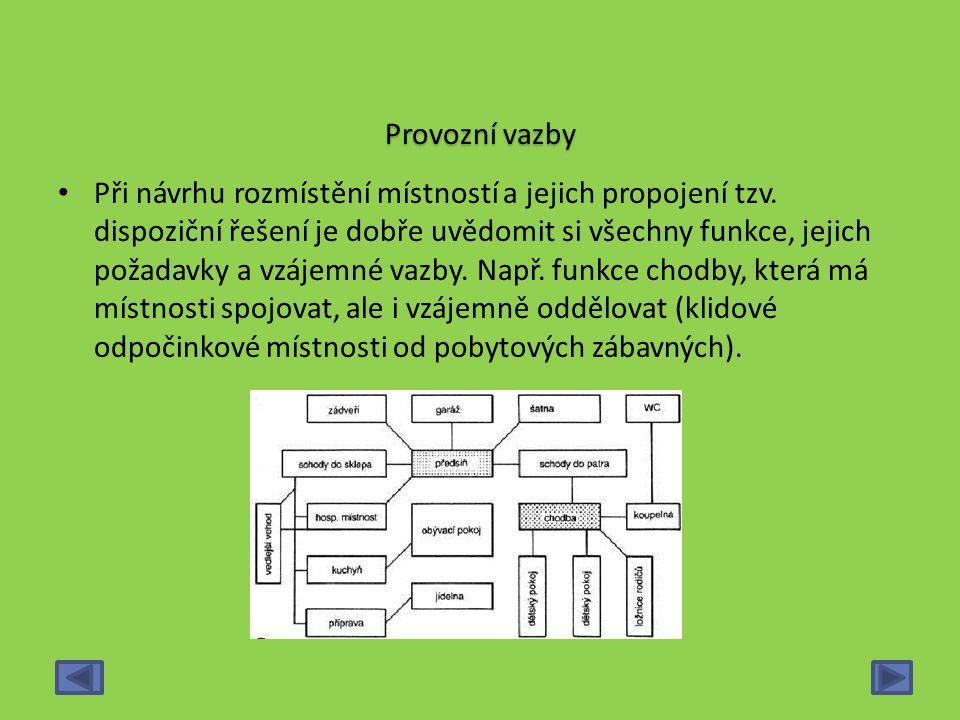 Provozní vazby Při návrhu rozmístění místností a jejich propojení tzv. dispoziční řešení je dobře uvědomit si všechny funkce, jejich požadavky a vzáje