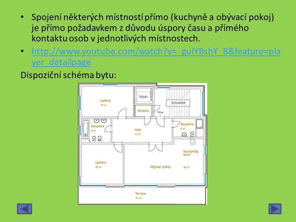 Spojení některých místností přímo (kuchyně a obývací pokoj) je přímo požadavkem z důvodu úspory času a přímého kontaktu osob v jednotlivých místnostec