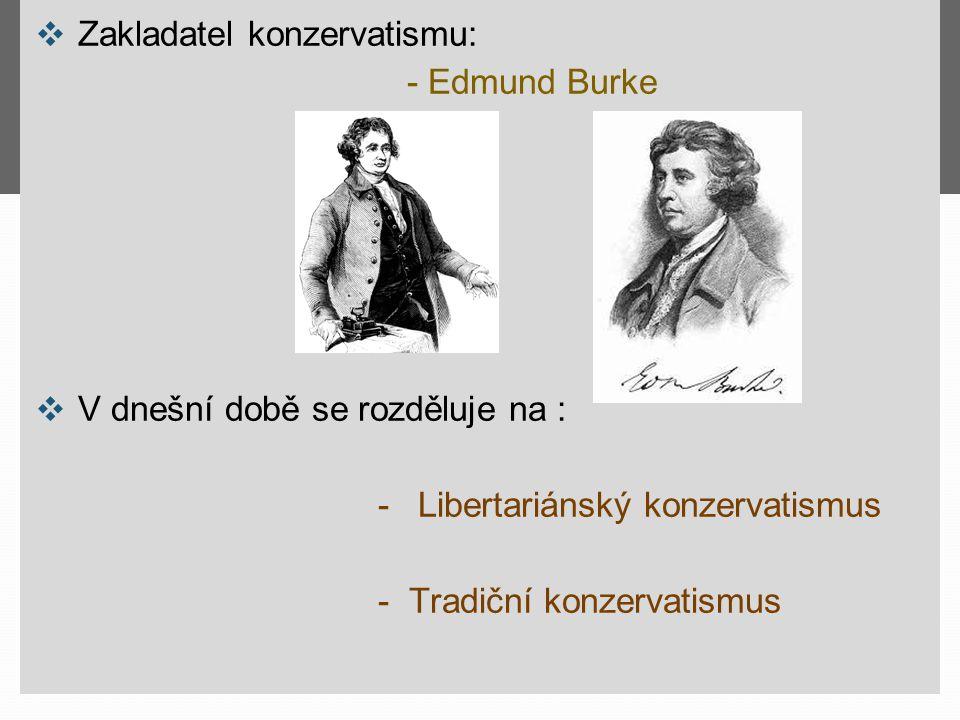 ❖ Zakladatel konzervatismu: - Edmund Burke ❖ V dnešní době se rozděluje na : - Libertariánský konzervatismus - Tradiční konzervatismus