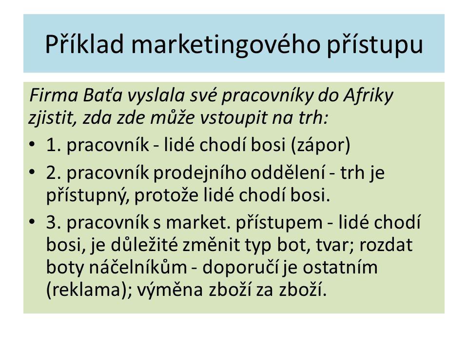 Příklad marketingového přístupu Firma Baťa vyslala své pracovníky do Afriky zjistit, zda zde může vstoupit na trh: 1. pracovník - lidé chodí bosi (záp