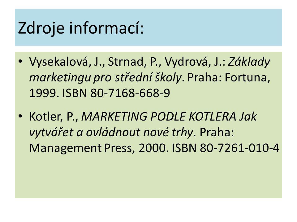 Zdroje informací: Vysekalová, J., Strnad, P., Vydrová, J.: Základy marketingu pro střední školy. Praha: Fortuna, 1999. ISBN 80-7168-668-9 Kotler, P.,
