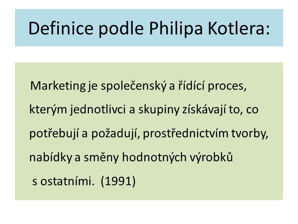 Definice podle Philipa Kotlera: Marketing je společenský a řídící proces, kterým jednotlivci a skupiny získávají to, co potřebují a požadují, prostřednictvím tvorby, nabídky a směny hodnotných výrobků s ostatními.