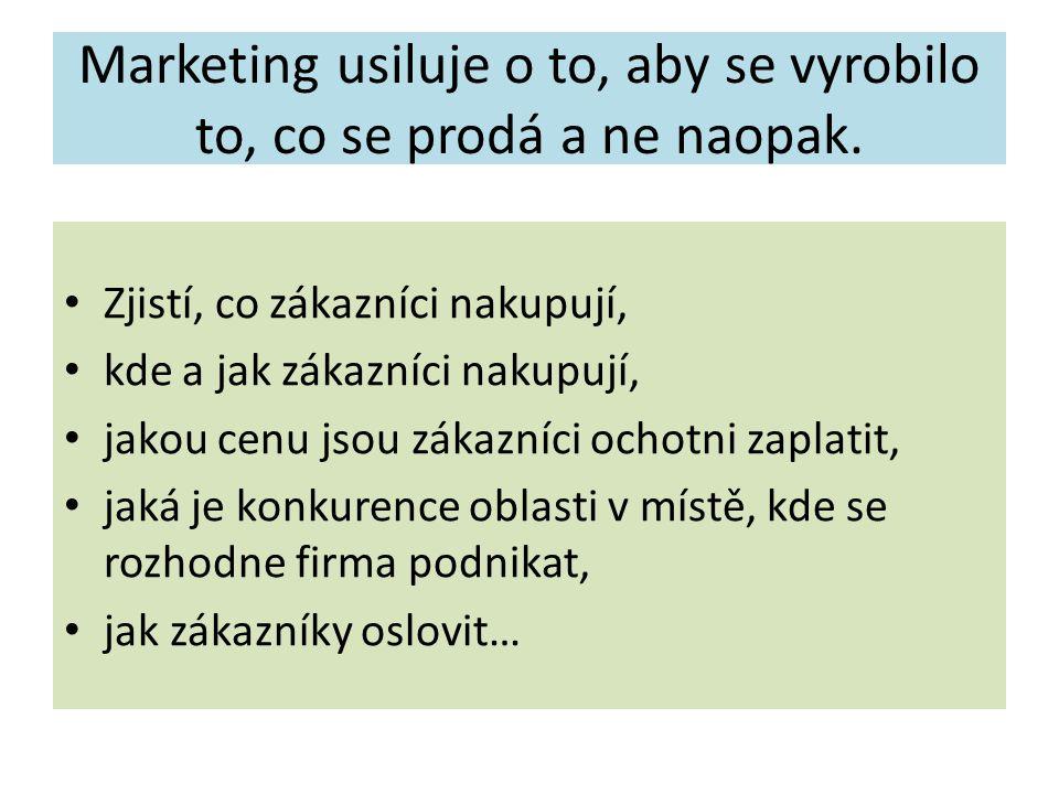 Marketing usiluje o to, aby se vyrobilo to, co se prodá a ne naopak. Zjistí, co zákazníci nakupují, kde a jak zákazníci nakupují, jakou cenu jsou záka
