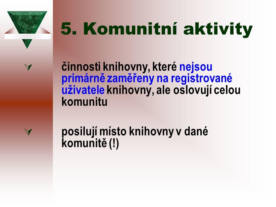 5. Komunitní aktivity  činnosti knihovny, které nejsou primárně zaměřeny na registrované uživatele knihovny, ale oslovují celou komunitu  posilují m